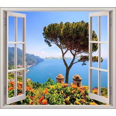 Sticker fenêtre vouté trompe l/'oeil déco Belle vue plage réf 609