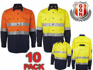 10x-HI-VIS-SAFETY-WORK-WEAR-COTTON-DRILL-SHIRT-Light-Weight-REFLECTIVE-VENTS