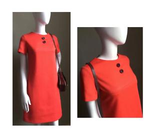 Size 10 - VINTAGE 1960's Red Orange Mini Mod Retro Button Detail Dress - Scooter