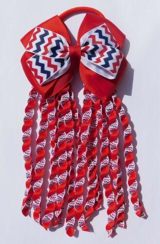 Red White /& Blue Double Bow Streamer Ribbon Elastic Bobble Cheer Leader
