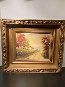 Vintage-Oil-Paintings-Country-Landscape-Signed-Antique-Wood-Gilded-Frame-Art