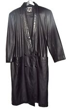 Vintage Global Identity G III Black Leather V Neck Womens DB Coat Sz M Korea