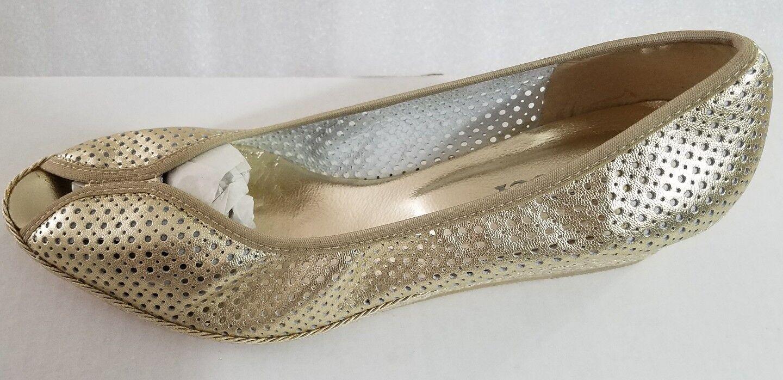 Party Peep Toe Sesto Meucci Gold Gold Gold Metallic Peep Toe Sz 9.5M Laser Cut Ballet Flat 8986e1
