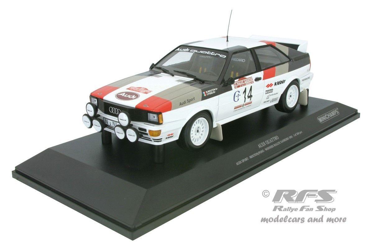 AUDI QUATTRO RALLYE SAN REMO 1981 Michele Mouton 1:18 1:18 1:18 Minichamps 155811114 NEUF fcf582