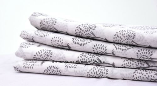 5 Yards White Cotton Voile Hand Block Print Fabric Natural Dyes Sanganer Indian