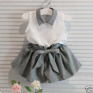 Summer-Kids-Baby-Girls-Clothes-Collar-Blouse-Tops-Belt-Shorts-Pants-Outfits-Set