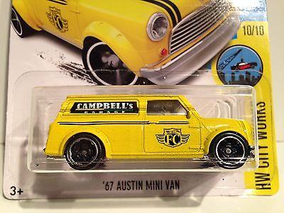 Hot Wheels 2016 City Works 67 austin mini van amarillo