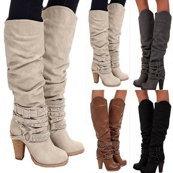 Siemo Women Round Toe Block Heel Knee Boots Ankle Strap Strap Ankle Decorate ecd502