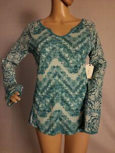 St-Johns-Bay-NWT-Womens-LS-Shirt-Turquoise-Twin-Print-Chevron-S-M-XL-SHIPS-FAST