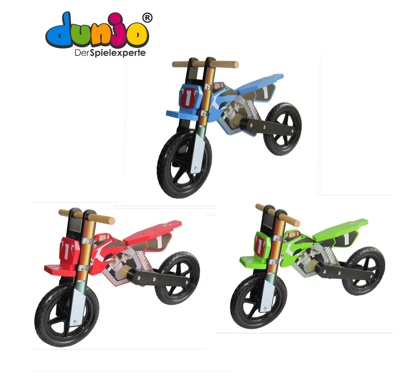 Dunjo® Kinderlaufrad Holz Laufrad Motorrad  Cross Pro  Kinderbike ab 2 Jahre