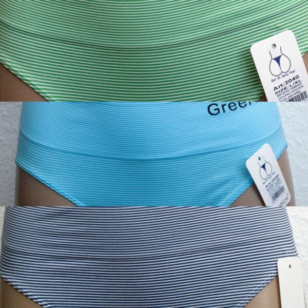 3er Pack Damen Taillenslips hoher Bund L-XXL modern Streifen Big Size Mikrofaser