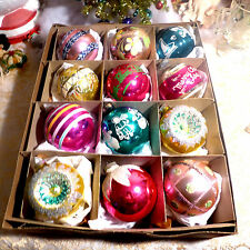 12 JUMBO Shiny Brite Box Vtg Glass Xmas Ornaments Indent Glitter Stencil Germany
