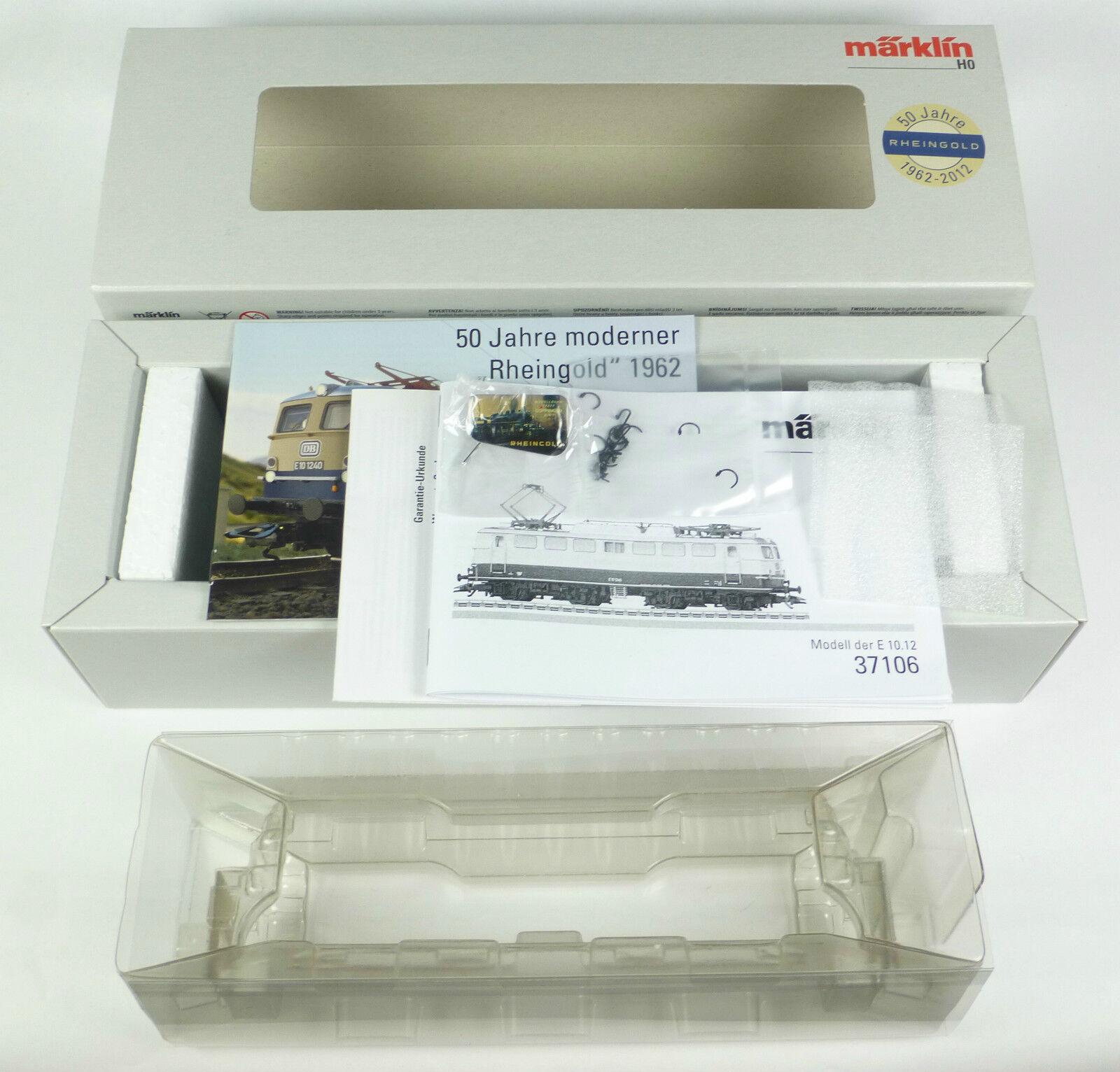 Märklin cartón vacía 37106 e-Lok br e 10.12 Rin oro mfx Digital Sound OVP 37107