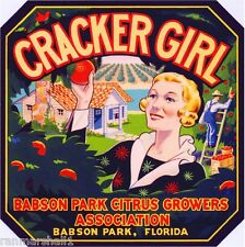 Babson Park Florida Cracker Girl #1 Orange Citrus Fruit Crate Label Art Print