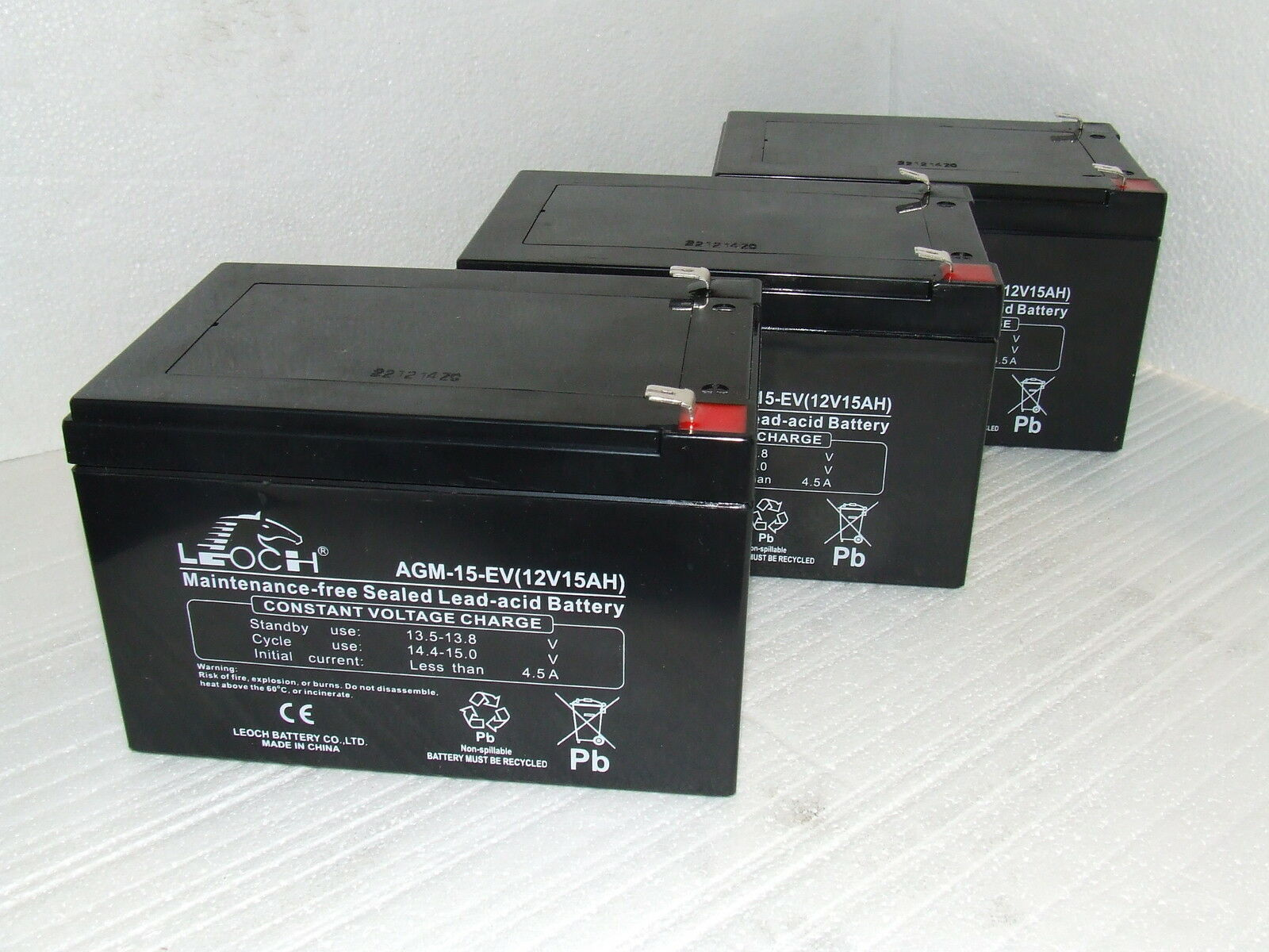 3 x LEOCH 12V 15ah (replaces 12ah, 14ah) HEAVIER DUTY DEEP CYCLE Batteries