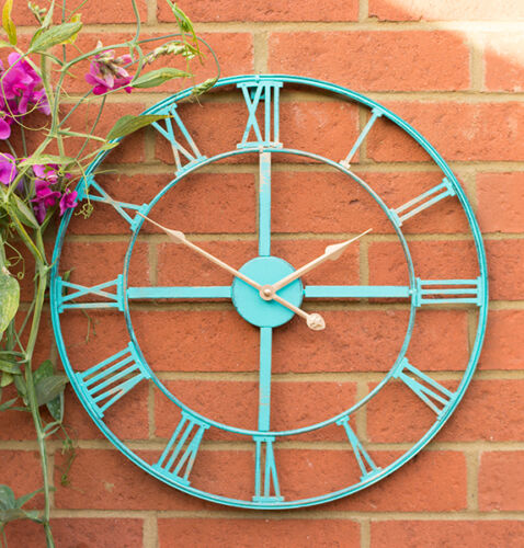 Gartenuhr mit Antik-Patina-Optik Metall Römische Ziffern Türkis 46cm Uhr Garten