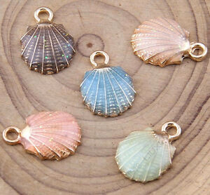 Enamel charms sea shell pendant jewelry making diy gold gp small image is loading enamel charms sea shell pendant jewelry making diy mozeypictures Images