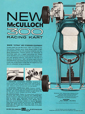 Vintage Beautiful Color 1962 McCulloch 300 Racing Go-Kart Ad New