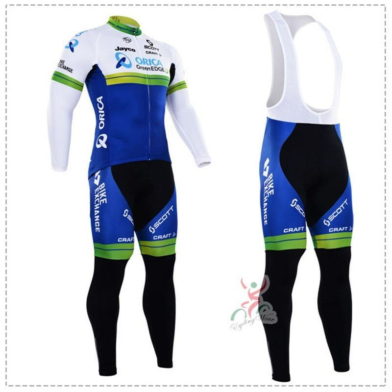 KJ2354 Mountain Dh Cycling Winter Thermal Fleece long sleeve jersey Bib Pants Ki
