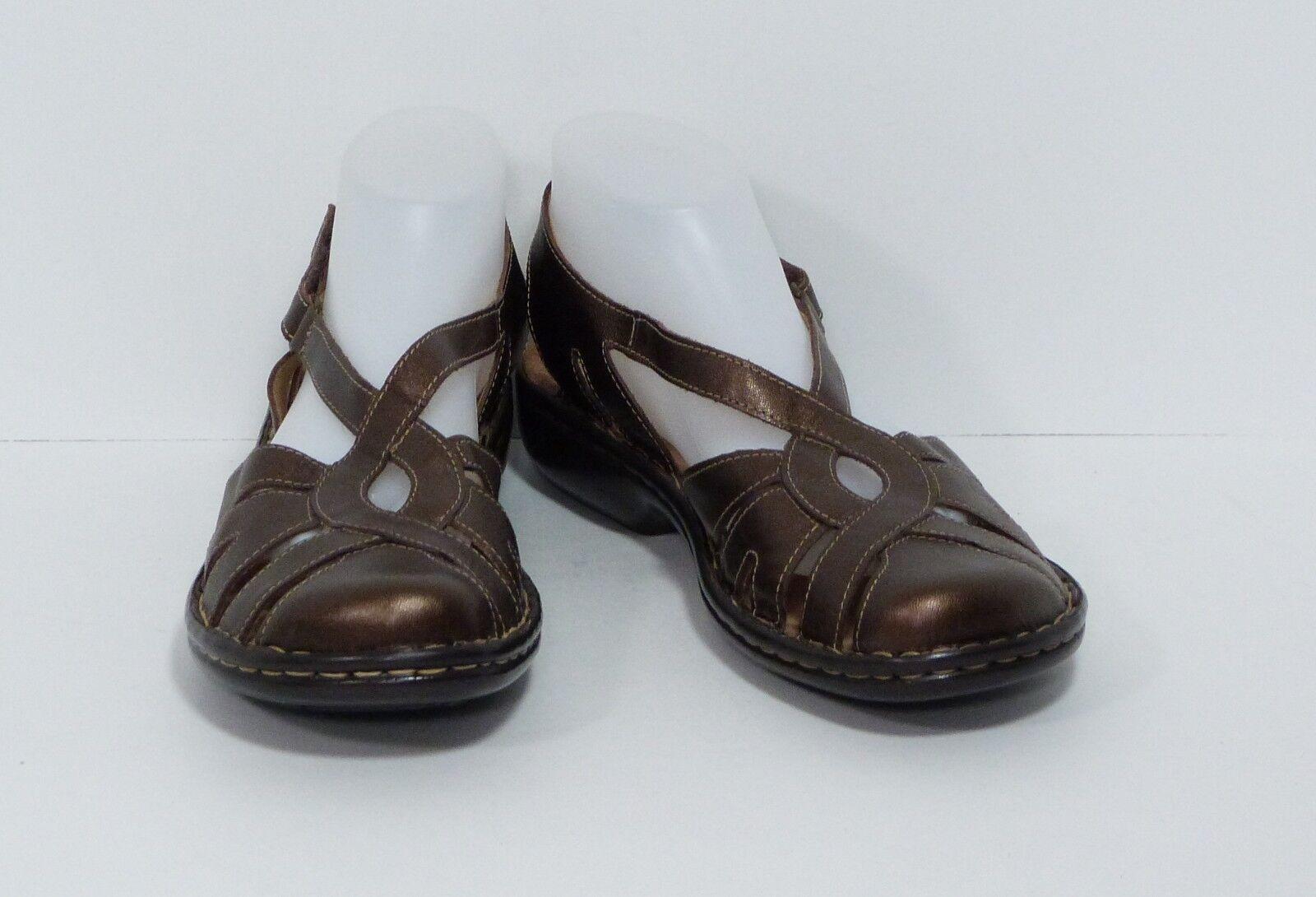 CLARKS Active Air Leather Sandals Metallic Bronze Closed Toe Women's 10 US EUC