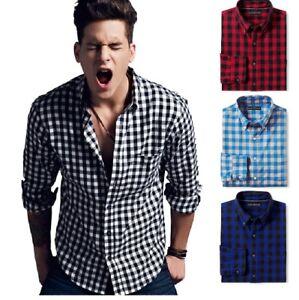Mens Plaid Casual Button Down Shirts Slim Fit Check Shirt Long Sleeve CK01  | eBay