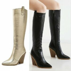 Details about  /Europe Women Cowboy Western Pointy Toe Block Heel Knee High Boots Outdoor Punk B