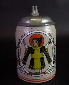 alter Bierkrug MÜNCHENER KINDL um 1910 - Emaillefarben - Marzi & Remy Westerwald