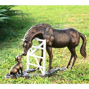 FOREVER-FRIENDS-25-034-STATUE-Metal-Yard-Barn-Patio-Garden-HORSE-amp-DOG-SCULPTURE