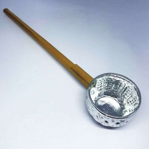 Louche argent bol style thaïlandais Handcraft eau naturelle Soupe Ustensile bois vintage