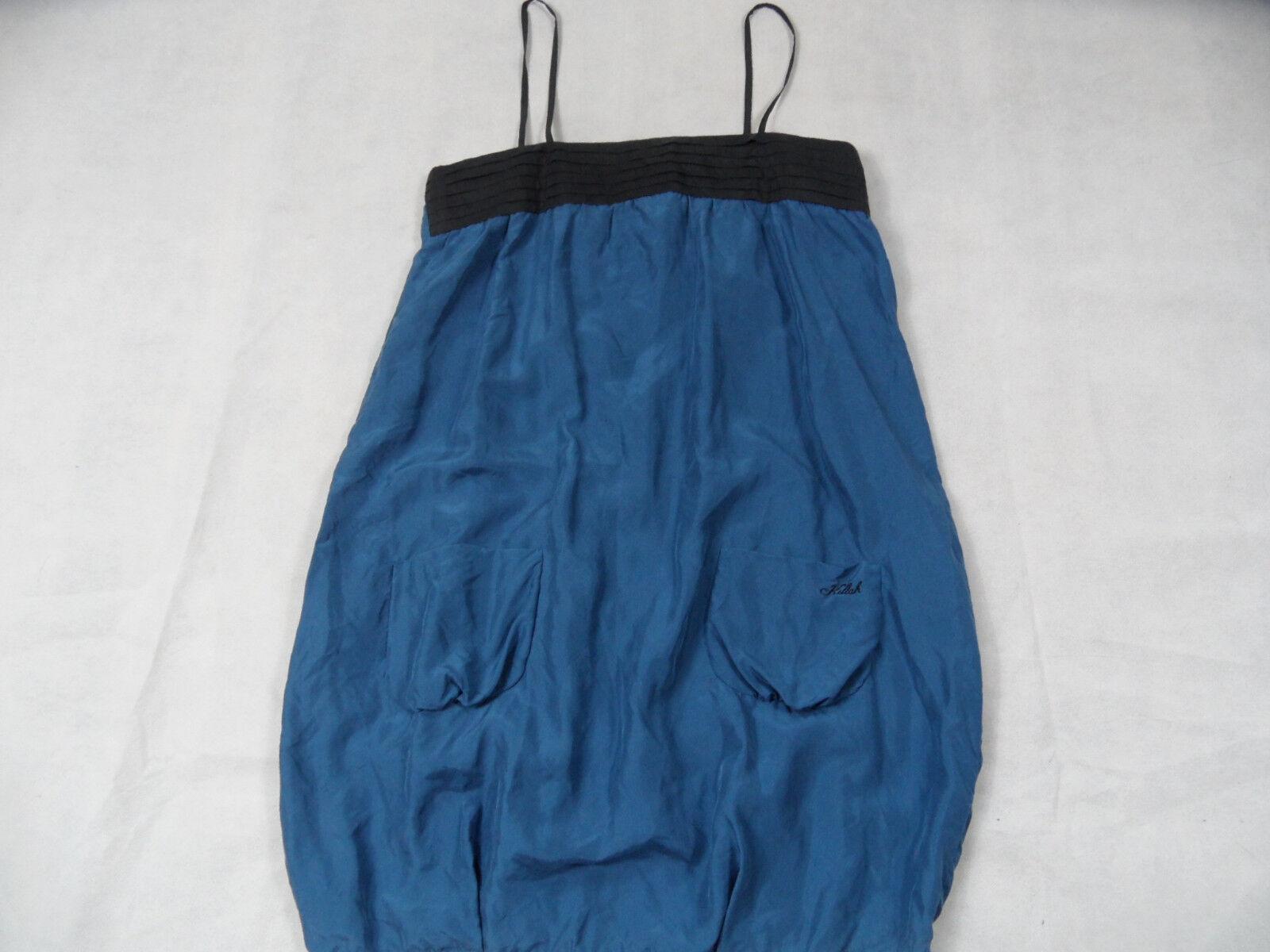 KILLAH stylisches Hängerchen Ballonkleid Seide blue black Gr. L TOP ZC918