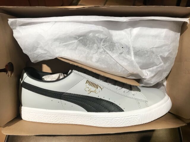 Men s Puma Clyde Gray Black Leather Athletic Sneakers SZ 8 352773 08 New In  Box f9e5859bb