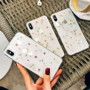 Real-Dried-Flower-Rubber-Shockproof-Case-Clear-Cover-for-iPhone-7-8-11-XR-XS-Max