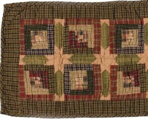 Country-Style-Table-Runner-Hand-Quilted-Tea-Stain-and-Green-Patchwork-Tea-Cabin