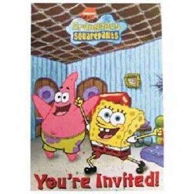 SpongeBob Squarepants Birthday Party Invitations Pack of 8 NEW Sealed in Pack