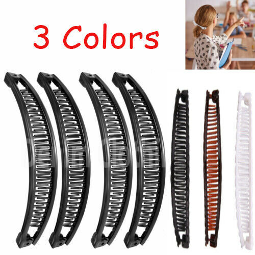 BANANA HAIR CLIPS PONYTAIL CLAW COMBS BLACK,BROWN,CLEAR,WHITE...