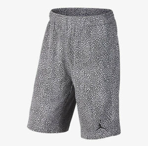 online store b95cb 260ee Details about NIKE AIR JORDAN 3 III Retro Fleece Shorts CEMENT Grey  Elephant Print Black JTH M