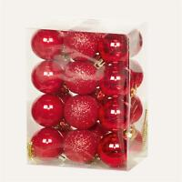 Christmas Tree Decoration 24 Pack 30mm Mini Shatterproof Baubles - RED