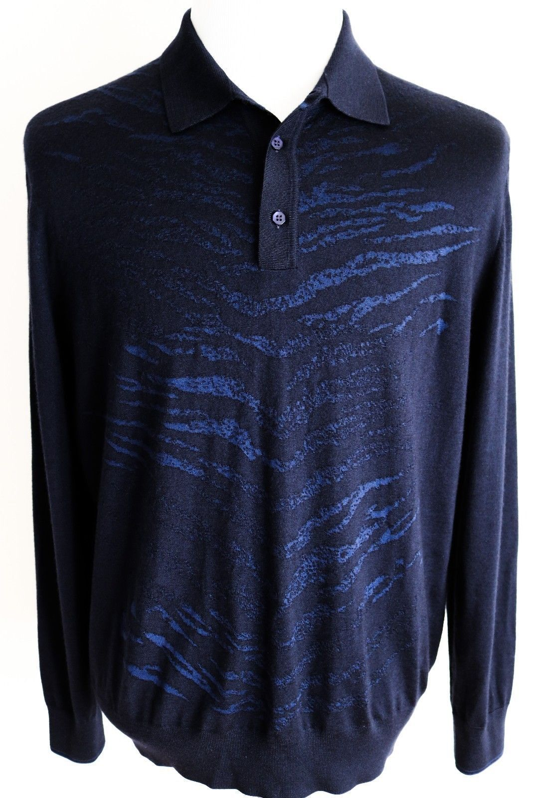 2000 STEFANO RICCI Navy and Blau Cashmere Silk Polo Sweater Größe 56 Euro 2XL