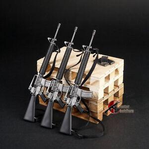 1-6-m16-schwarz-US-Army-Gewehr-Pistole-Waffe-Modell-F-12-034-Soldat-Action-Figur-Toys