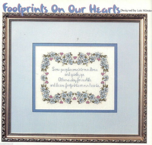 CROSS STITCH  PATTERN     HM FOOTPRINTS ON OUR HEART RYP