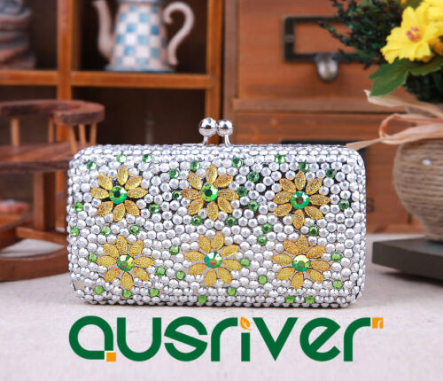 Purse//Handbag for Party//Daily Colored Crystals Polyester Fiber Sun Flowers