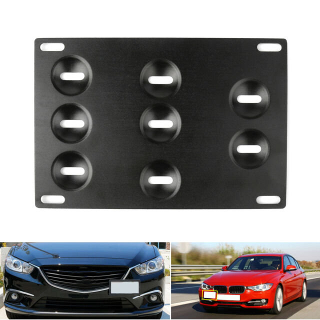 1* Universal Black Auto Car Front Bumper Tow Hook License Plate Mounting Bracket