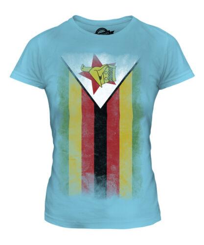 Zimbabwe délavé drapeau femmes t-shirt tee top zimbabwéen shirt football jersey cadeau