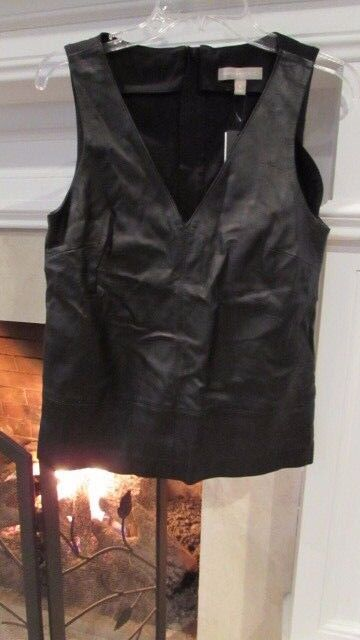 Banana Republic Leather and Fabric Sleeveless Top Sz 6 Retail