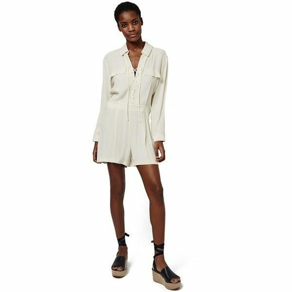Topshop Cream Lace-Up Romper Long Sleeve Romper Jumpsuit - sz. 6 NEW WITH TAGS