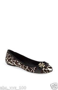 67a036c8ed3 NIB Tory Burch Eloise 2 Calf Hair Ballet Flats Shoes Leopard Combo ...