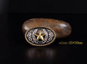 5PCS-45-30mm-Western-Texas-Gold-Silver-Horse-Star-Saddles-Leathercraft-CONCHOS