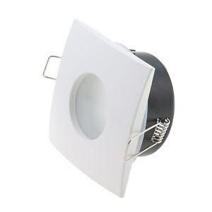 Détails sur Spot carré encastrable/orientable Salle De Bain IP65 BLANC GU10  LED