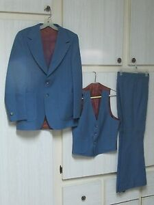 Concepts by KNACK Men's Vintage 3 Piece Leisure Suit Cool Blue Disco Maybe 38