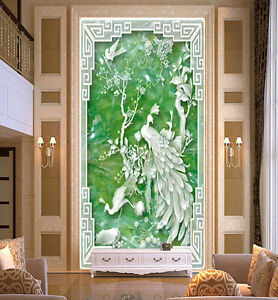 3D Jade Carving Peacock Paper Wall Print Decal Wall Wall Murals AJ